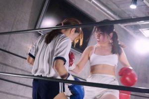 倉野遥と川崎亜里沙がリンコスチェンジしながら女子ボクシング!体操着ブルマにトップレスとマニアが興奮するエロい姿も登場!!